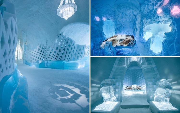 Daftar Hotel Terunik Di Dunia - Ice Hotel Room
