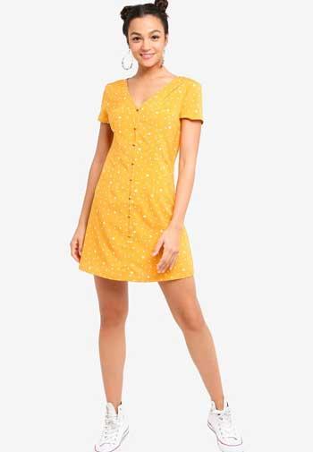 Inspirasi Dress Wanita Terbaru - Button Down Short Sleeve Mini Dress