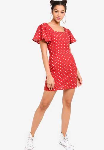 Inspirasi Dress Wanita Terbaru - Flutter Sleeve Square Neck Dress