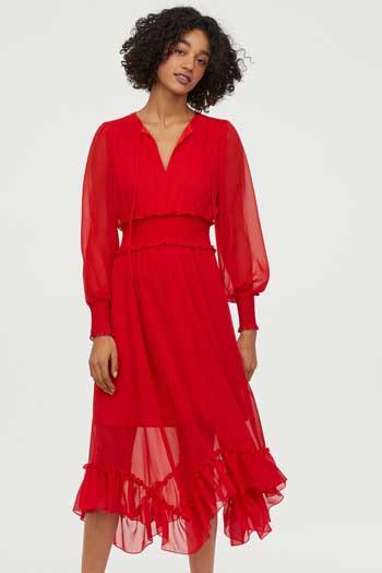 Inspirasi Dress Wanita Terbaru - Long Dress With Smocking in Red