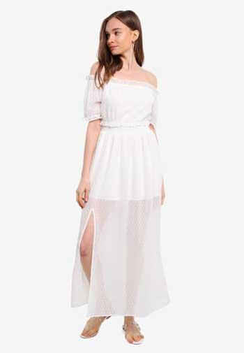 Inspirasi Dress Wanita Terbaru - Maxi Dress in White with Front Slit