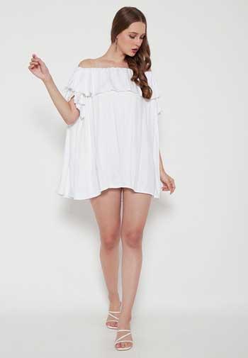 Inspirasi Dress Wanita Terbaru - Off Shoulder Mini Dress in White