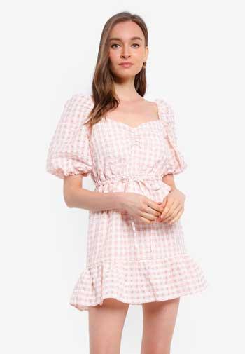 Inspirasi Dress Wanita Terbaru - Pink Gingham Mini Dress
