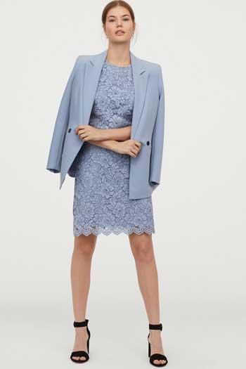 Inspirasi Dress Wanita Terbaru - Short Lace Dress in Light Blue
