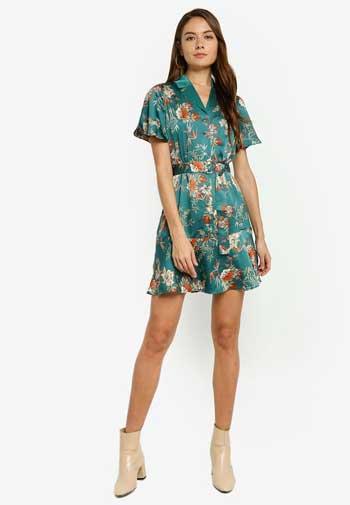 Inspirasi Dress Wanita Terbaru - Sleeved Floral Printed Shirt Dress