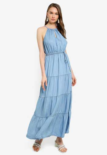 Inspirasi Dress Wanita Terbaru - Tiered Denim Maxi Dress