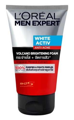 Sabun Cuci Muka Pria Terbaik - L'Oreal Men Expert White Activ Anti-Acne Volcano Brightening Foam