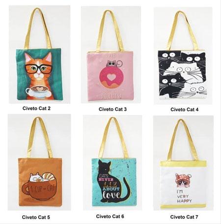 Merk Tote Bag Terbaik - Civeto Cosmo Printed Canvas Tote Bag