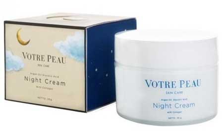 Krim Malam Terbaik Untuk Kulit Berminyak Dan - Votre Peau Collagen Booster Night Cream