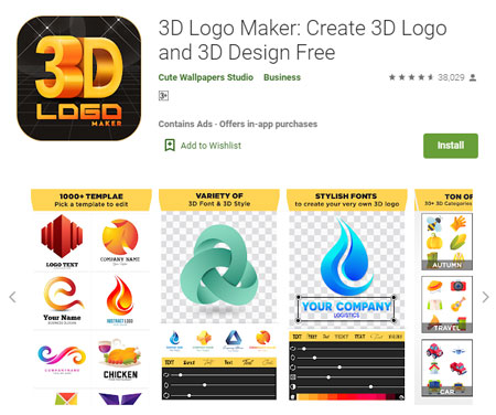 Aplikasi Pembuat Logo Terbaik di Android - 3D Logo Maker: Create 3D Logo and 3D Design Free