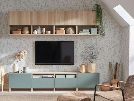 Rekomendasi Meja TV Minimalis Modern - 1 set kombinasi meja TV dengan storage dinding