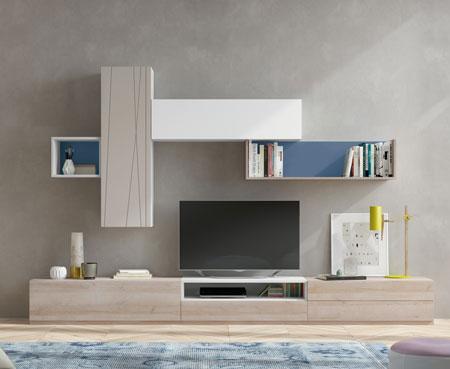 Rekomendasi Meja TV Minimalis Modern - Kombinasi meja TV dan rak dinding yang berirama
