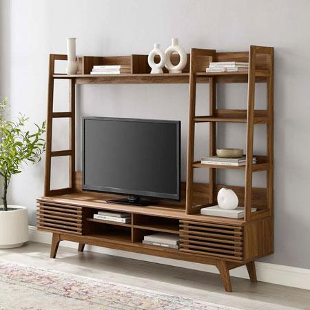 Rekomendasi Meja TV Minimalis Modern - Kombinasi meja TV dan pajangan