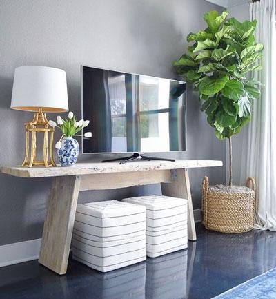 Rekomendasi Meja TV Minimalis Modern - Meja TV dari kayu yang chic