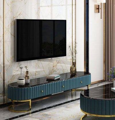 Rekomendasi Meja TV Minimalis Modern - Modern oval TV table yang elegan