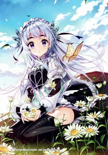 Karakter Anime Wanita Dengan Rambut Putih/Abu-abu