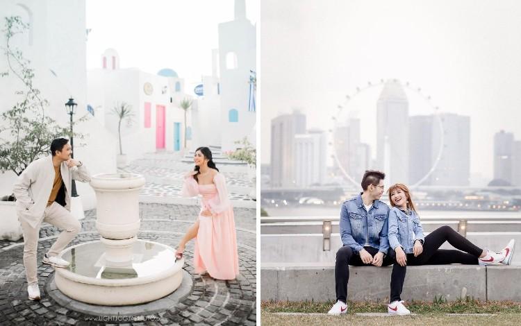 Ide foto prewedding outdoor casual romantis