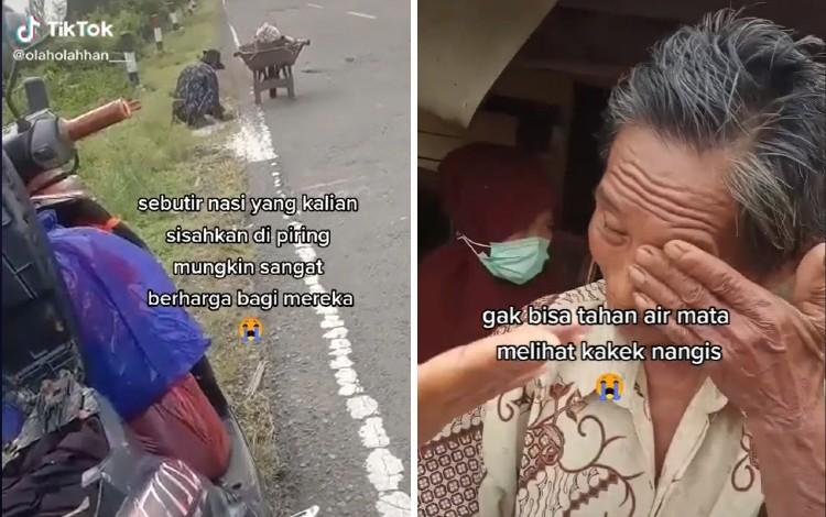 Seorang Kakek Punguti Beras di Pinggir Jalan